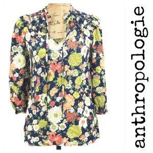 Anthropologie Odille Navy Floral Blouse Smocked